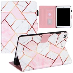 Pink White Stitching Color Marble Leather Flip Cover for Apple iPad Mini 4