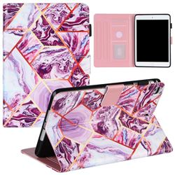 Dream Purple Stitching Color Marble Leather Flip Cover for Apple iPad Mini 4