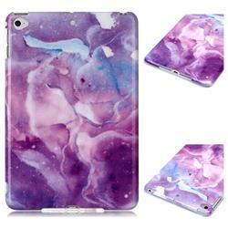 Dream Purple Marble Clear Bumper Glossy Rubber Silicone Phone Case for iPad Mini 5 Mini5