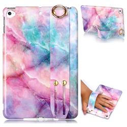 Dream Green Marble Clear Bumper Glossy Rubber Silicone Wrist Band Tablet Stand Holder Cover for iPad Mini 5 Mini5