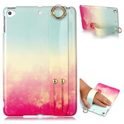 Sunset Glow Marble Clear Bumper Glossy Rubber Silicone Wrist Band Tablet Stand Holder Cover for iPad Mini 5 Mini5