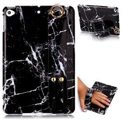 Black Stone Marble Clear Bumper Glossy Rubber Silicone Wrist Band Tablet Stand Holder Cover for iPad Mini 5 Mini5