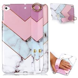 Stitching Pink Marble Clear Bumper Glossy Rubber Silicone Wrist Band Tablet Stand Holder Cover for iPad Mini 5 Mini5