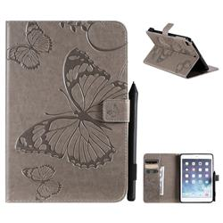 Embossing 3D Butterfly Leather Wallet Case for iPad Mini 5 Mini5 - Gray