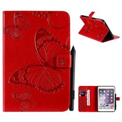 Embossing 3D Butterfly Leather Wallet Case for iPad Mini 5 Mini5 - Red