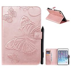 Embossing 3D Butterfly Leather Wallet Case for iPad Mini 5 Mini5 - Rose Gold