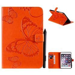 Embossing 3D Butterfly Leather Wallet Case for iPad Mini 5 Mini5 - Orange