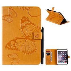 Embossing 3D Butterfly Leather Wallet Case for iPad Mini 5 Mini5 - Yellow
