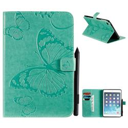 Embossing 3D Butterfly Leather Wallet Case for iPad Mini 5 Mini5 - Green