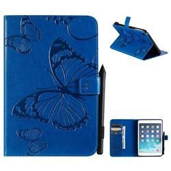 Embossing 3D Butterfly Leather Wallet Case for iPad Mini 5 Mini5 - Blue