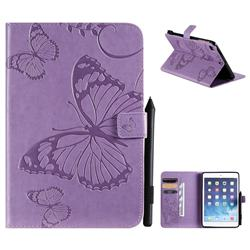 Embossing 3D Butterfly Leather Wallet Case for iPad Mini 5 Mini5 - Purple