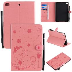 Embossing Bee and Cat Leather Flip Cover for iPad Mini 5 Mini5 - Pink