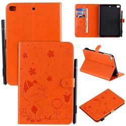 Embossing Bee and Cat Leather Flip Cover for iPad Mini 5 Mini5 - Orange