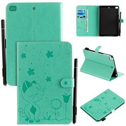 Embossing Bee and Cat Leather Flip Cover for iPad Mini 5 Mini5 - Green