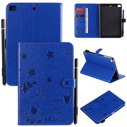 Embossing Bee and Cat Leather Flip Cover for iPad Mini 5 Mini5 - Blue