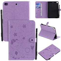 Embossing Bee and Cat Leather Flip Cover for iPad Mini 5 Mini5 - Purple