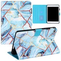Lake Blue Stitching Color Marble Leather Flip Cover for Apple iPad Mini 5 Mini5
