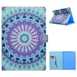 Mint Green Mandala Flower Folio Flip Stand Leather Wallet Case for iPad Pro 10.5
