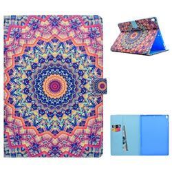 Orange Mandala Flower Folio Flip Stand Leather Wallet Case for iPad Pro 10.5