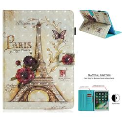 Flower Eiffel Tower 3D Painted Leather Wallet Tablet Case