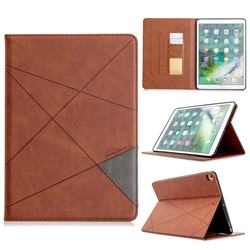 Binfen Color Prismatic Slim Magnetic Sucking Stitching Wallet Flip Cover for iPad Pro 10.5 - Brown