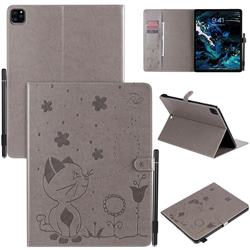 Embossing Bee and Cat Leather Flip Cover for Apple iPad Pro 12.9 (2020) - Gray