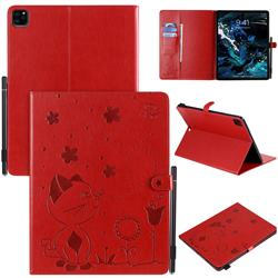 Embossing Bee and Cat Leather Flip Cover for Apple iPad Pro 12.9 (2020) - Red