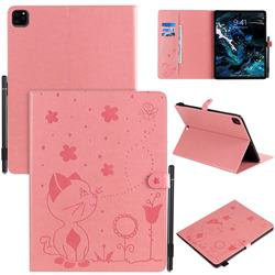Embossing Bee and Cat Leather Flip Cover for Apple iPad Pro 12.9 (2020) - Pink
