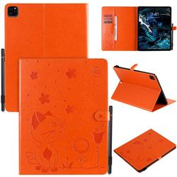 Embossing Bee and Cat Leather Flip Cover for Apple iPad Pro 12.9 (2020) - Orange