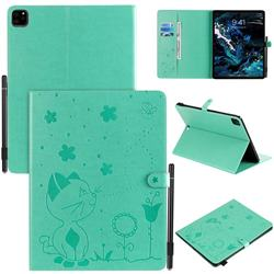 Embossing Bee and Cat Leather Flip Cover for Apple iPad Pro 12.9 (2020) - Green