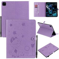 Embossing Bee and Cat Leather Flip Cover for Apple iPad Pro 12.9 (2018) - Purple