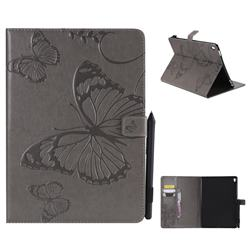 Embossing 3D Butterfly Leather Wallet Case for iPad Pro 9.7 2016 9.7 inch - Gray