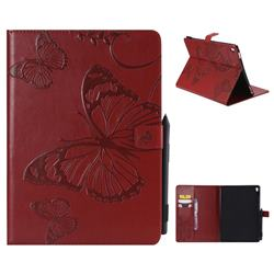 Embossing 3D Butterfly Leather Wallet Case for iPad Pro 9.7 2016 9.7 inch - Red