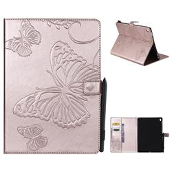 Embossing 3D Butterfly Leather Wallet Case for iPad Pro 9.7 2016 9.7 inch - Rose Gold