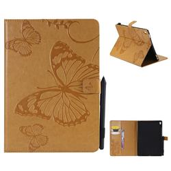 Embossing 3D Butterfly Leather Wallet Case for iPad Pro 9.7 2016 9.7 inch - Yellow