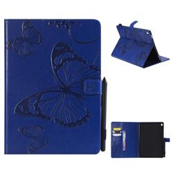 Embossing 3D Butterfly Leather Wallet Case for iPad Pro 9.7 2016 9.7 inch - Blue