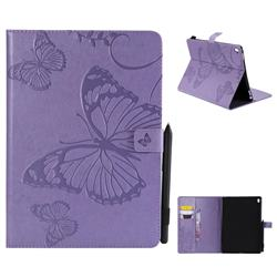 Embossing 3D Butterfly Leather Wallet Case for iPad Pro 9.7 2016 9.7 inch - Purple
