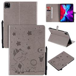 Embossing Bee and Cat Leather Flip Cover for Apple iPad Pro 11 (2020) - Gray