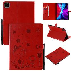 Embossing Bee and Cat Leather Flip Cover for Apple iPad Pro 11 (2020) - Red