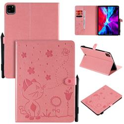 Embossing Bee and Cat Leather Flip Cover for Apple iPad Pro 11 (2020) - Pink