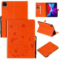 Embossing Bee and Cat Leather Flip Cover for Apple iPad Pro 11 (2020) - Orange