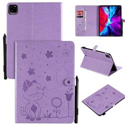 Embossing Bee and Cat Leather Flip Cover for Apple iPad Pro 11 (2020) - Purple