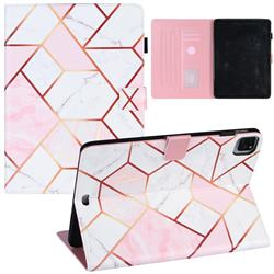 Pink White Stitching Color Marble Leather Flip Cover for Apple iPad Pro 11 (2020)