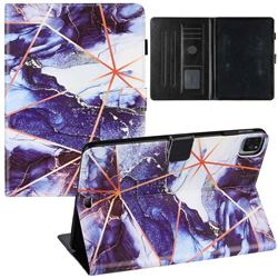 Starry Blue Stitching Color Marble Leather Flip Cover for Apple iPad Pro 11 (2020)