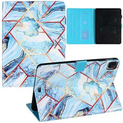 Lake Blue Stitching Color Marble Leather Flip Cover for Apple iPad Pro 11 (2020)