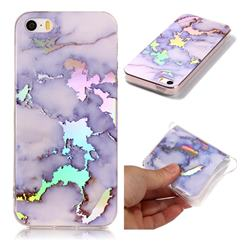 Blue Marble Pattern Bright Color Laser Soft TPU Case for iPhone SE2 (iPhone SE 2018)