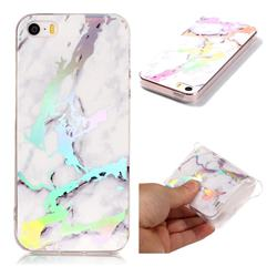 White Marble Pattern Bright Color Laser Soft TPU Case for iPhone SE2 (iPhone SE 2018)