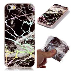 White Black Marble Pattern Bright Color Laser Soft TPU Case for iPhone SE2 (iPhone SE 2018)