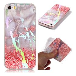 Powder Sandstone Marble Pattern Bright Color Laser Soft TPU Case for iPhone SE2 (iPhone SE 2018)