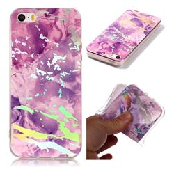 Purple Marble Pattern Bright Color Laser Soft TPU Case for iPhone SE2 (iPhone SE 2018)